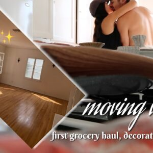 MOVING VLOG | unpacking & decorating our new apartment! + FIRST huge grocery haul